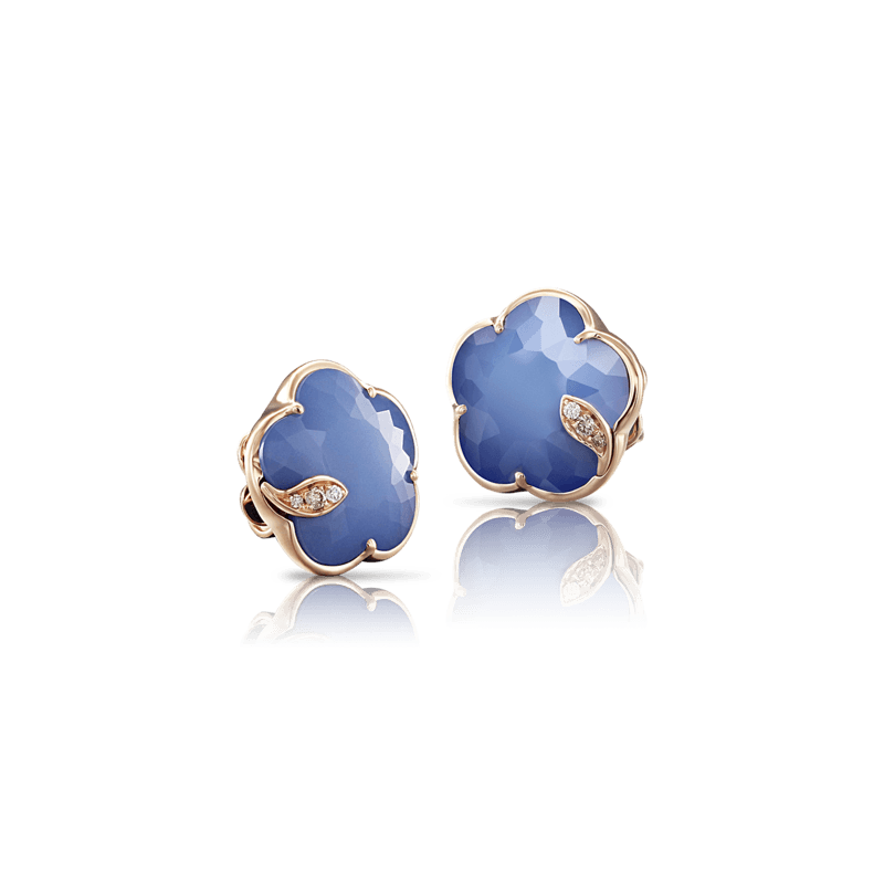 Pasquale Bruni Bon Ton Ton Jolì earrings pink gold and white agate and lapis lazuli doublet