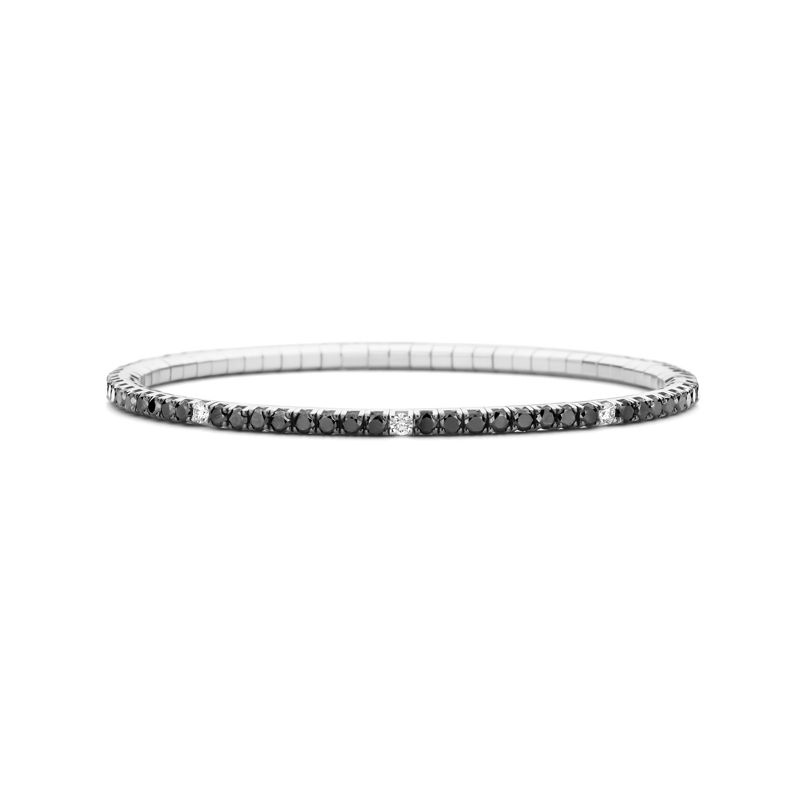 Tennis bracelet White Gold Black & White Diamonds T3 - Webshop