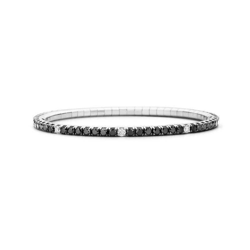 Tennis bracelet White Gold Black & White Diamonds T4 - Webshop