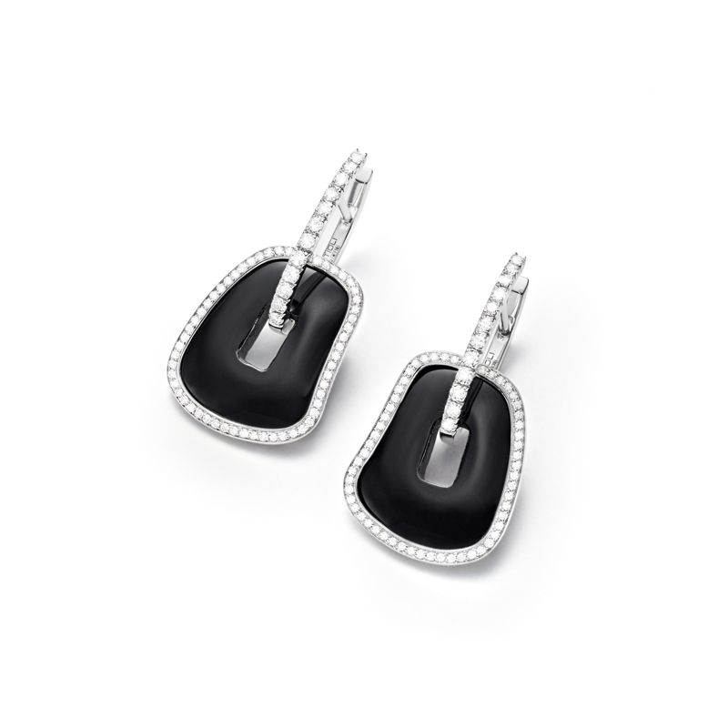 Mattioli Puzzle earrings in white gold, white diamonds and onyx - Webshop