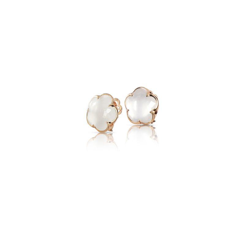14837R | Pasquale Bruni Bon Ton earrings pink gold and milky quartz 11mm - Webshop