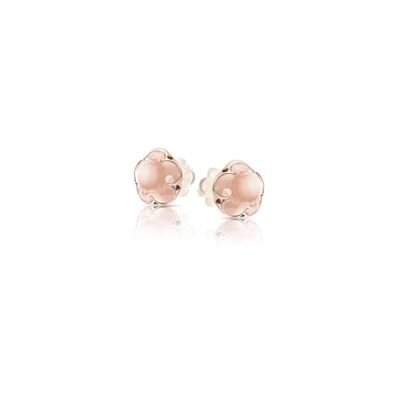 14844R | Pasquale Bruni Bon Ton earrings pink gold and rose quartz 11mm - Webshop