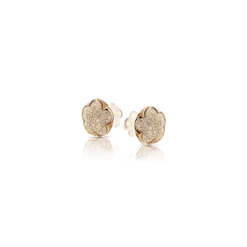 14848R | Pasquale Bruni Bon Ton earrings pink gold and champagne diamonds 11mm - Webshop