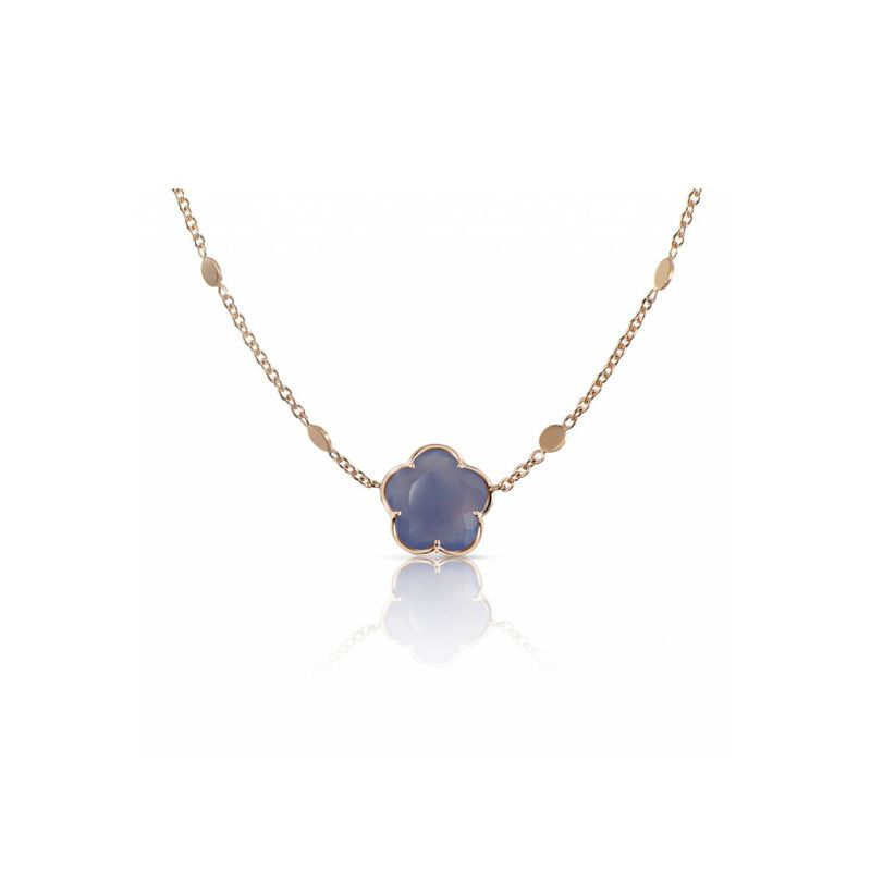 15069R | Pasquale Bruni Bon Ton necklace in red gold with blue chaledony 11mm - Webshop