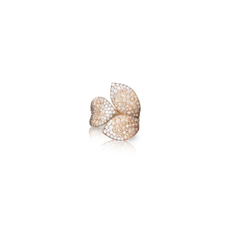 Pasquale Bruni Giardini Segreti ring in rose gold with white and champagne diamonds Medium