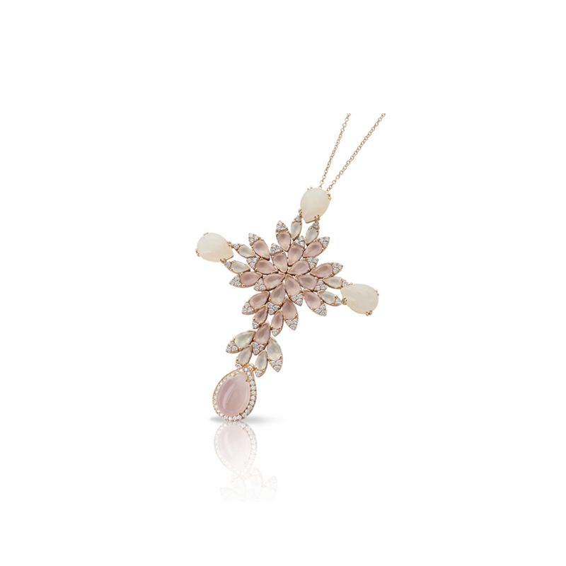 15174R | Pasquale Bruni Ghirlanda necklace pink gold with rose quartz, moonstone and diamonds - Webshop