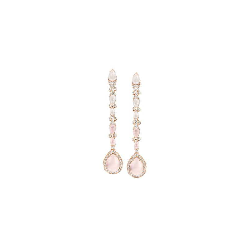 15180R | Pasquale Bruni Ghirlanda earrings pink gold with rose quartz, moonstone and diamonds - Webshop