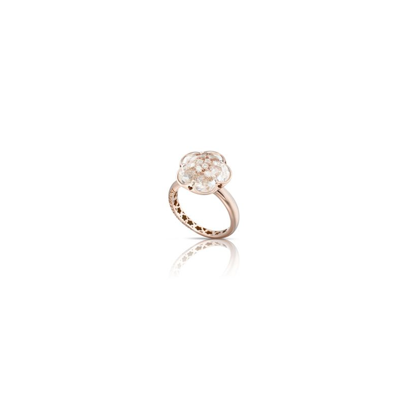 Pasquale Bruni Bon Ton ring pink gold and rock crystal