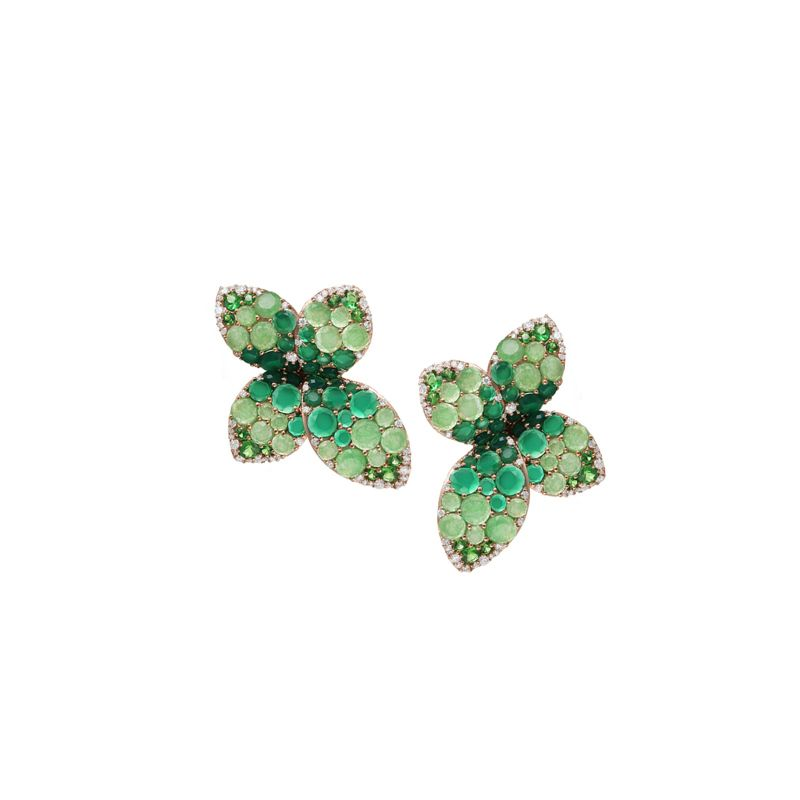 15324R | Pasquale Bruni Giardini Segreti earrings pink gold and green agate and jade - Webshop
