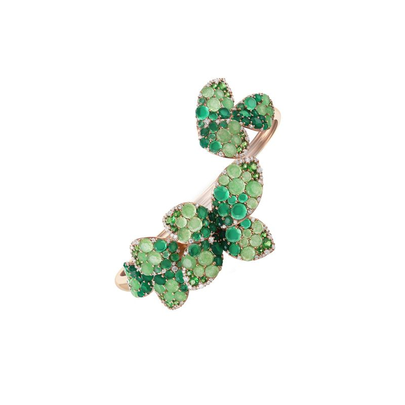 15326R | Pasquale Bruni Giardini Segreti bracelet pink gold and green agate and jade - Webshop