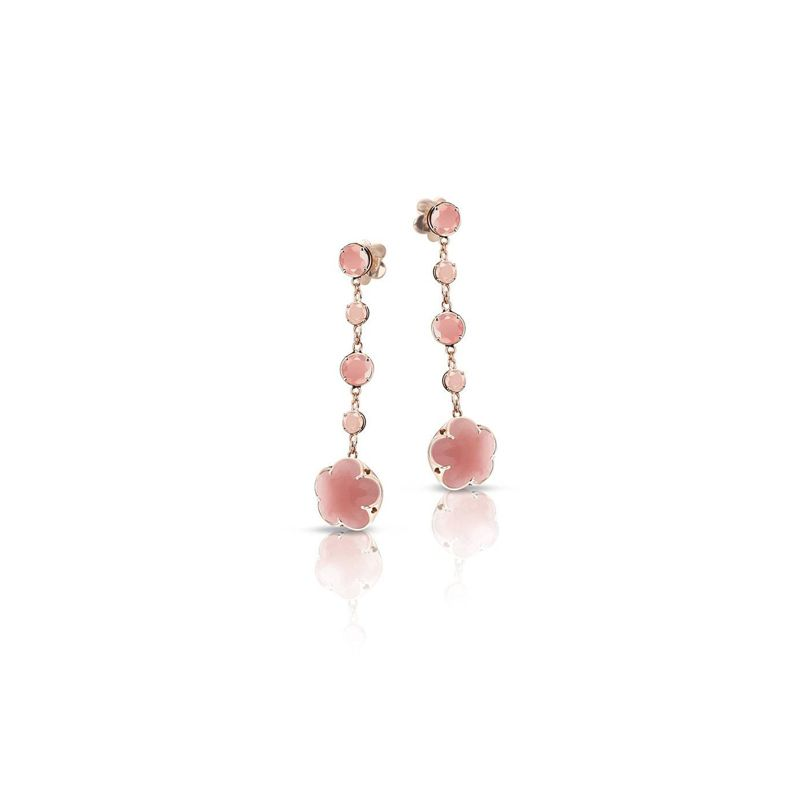 15387R | Pasquale Bruni Bon Ton earrings pink gold and deep pink chalcedony and diamonds 11mm - Webshop