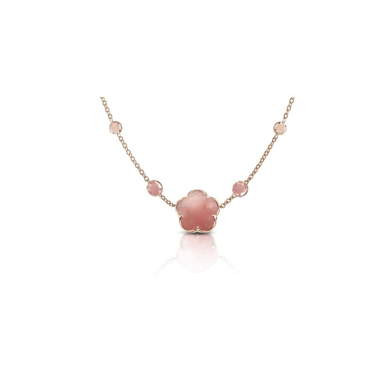 Pasquale Bruni Bon Ton necklace in red gold with deep pink chaledony 11mm
