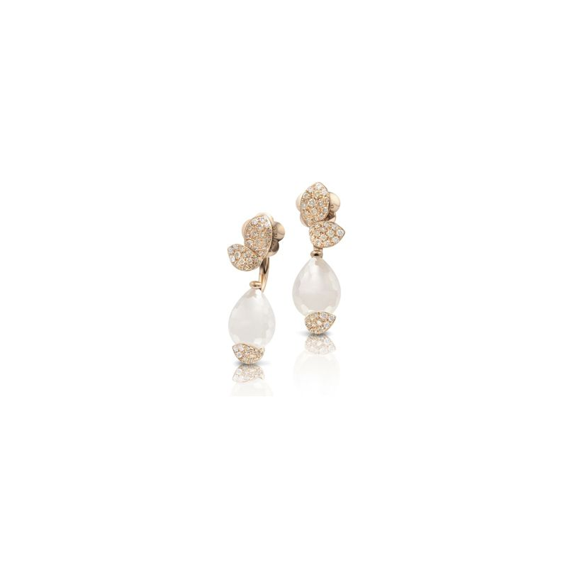 15451R | Pasquale Bruni Petit Secret earrings pink gold and milky quartz and white and champagne diamonds - Webshop