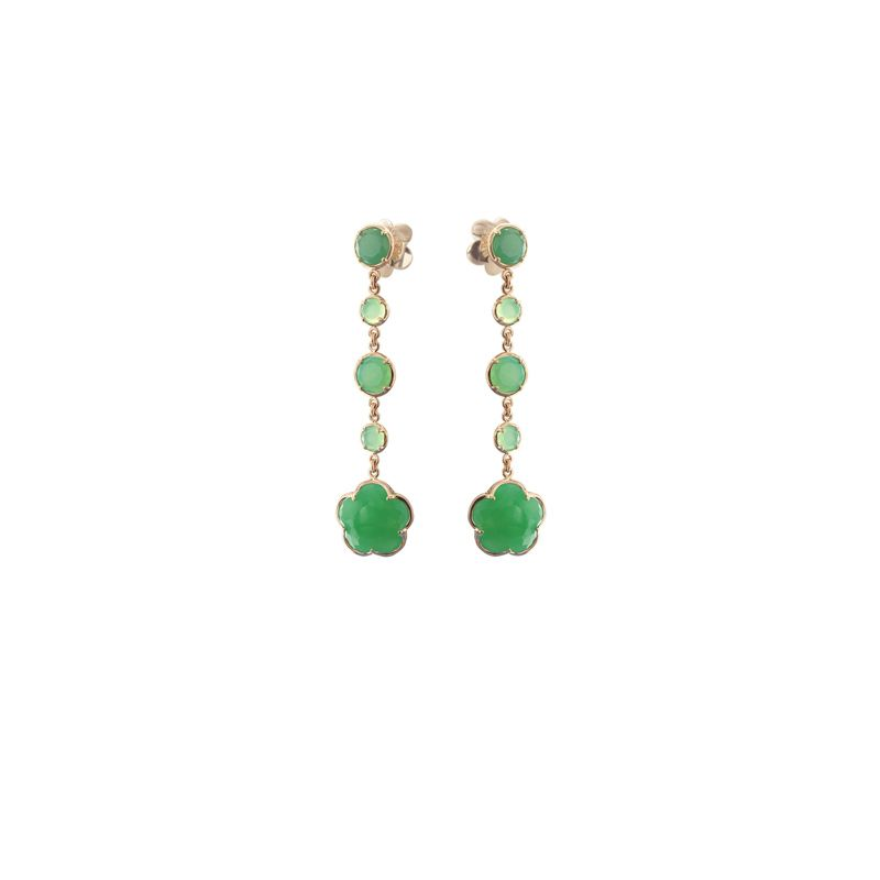 15566R | Pasquale Bruni Bon Ton earrings pink gold and green chrysoprase 11mm - Webshop