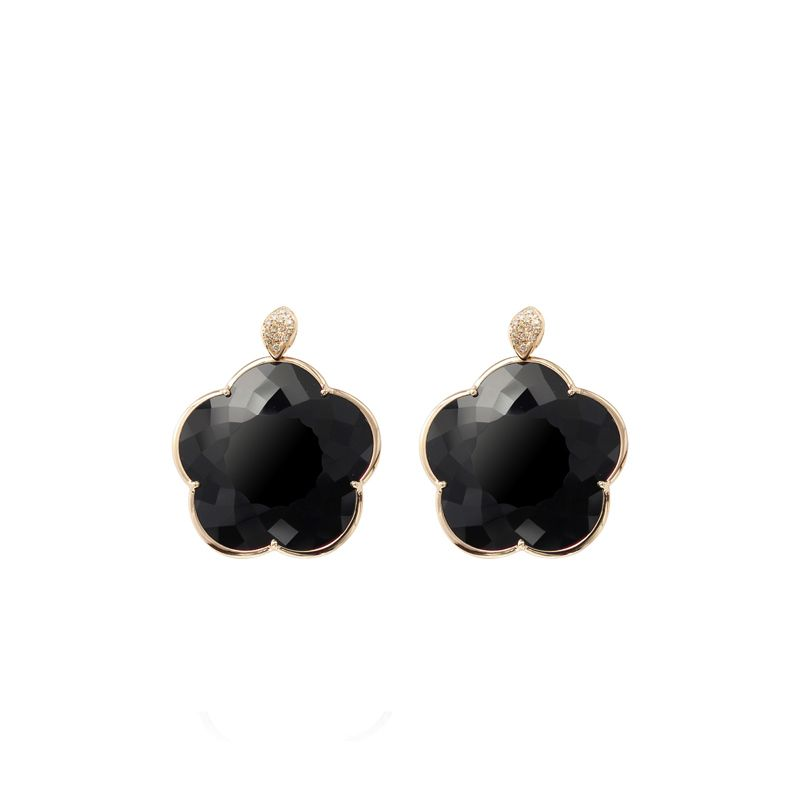15583R | Pasquale Bruni Ton Joli earrings pink gold and onyx 30mm - Webshop