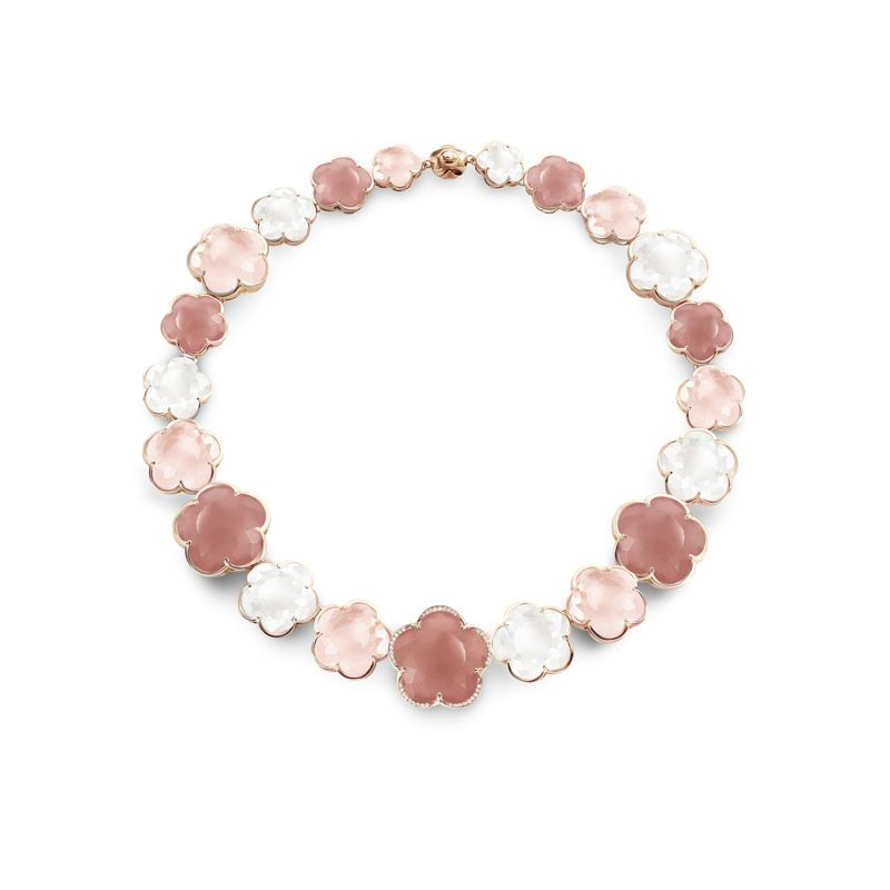 15586R | Pasquale Bruni Bon Ton necklace in pink gold with white and rose quartz, rose chalcedony and white diamonds - Webshop