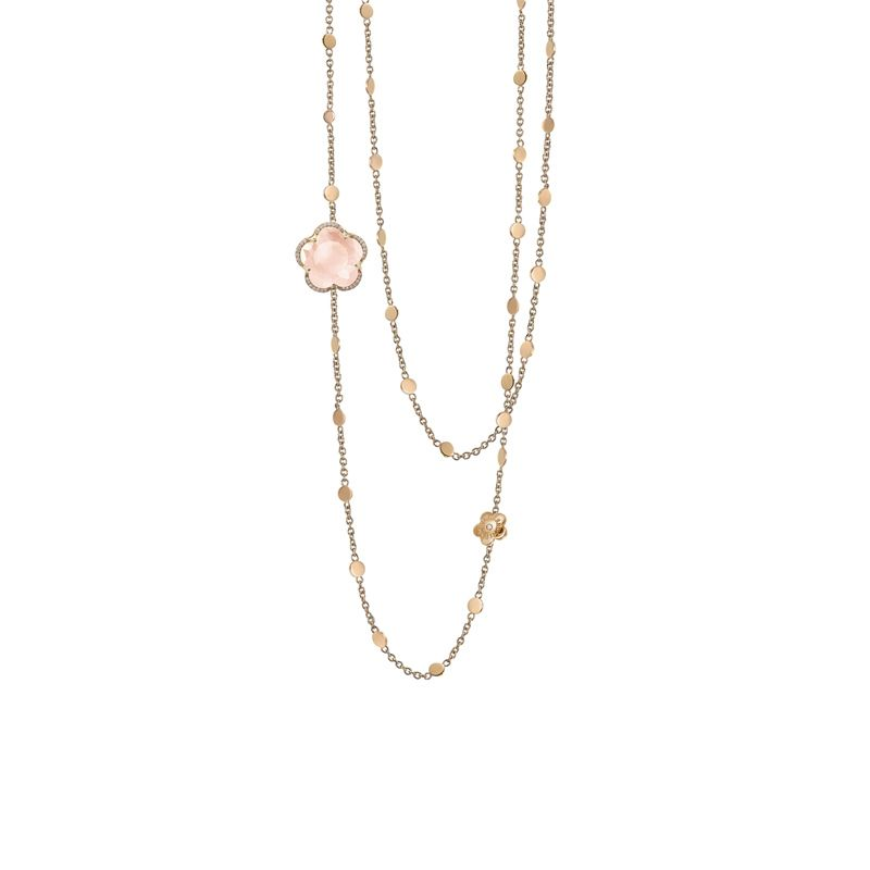 15624R | Pasquale Bruni Bon Ton necklace in red gold with rose quartz and diamonds 14mm - Webshop