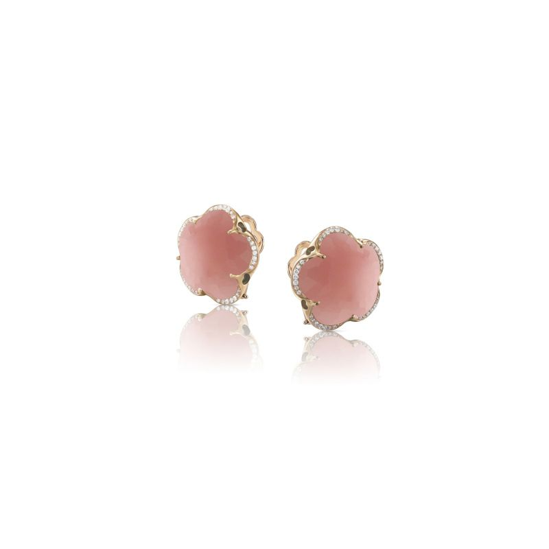 15626R | Pasquale Bruni Bon Ton earrings pink gold and deep pink chalcedony and diamonds 14mm - Webshop