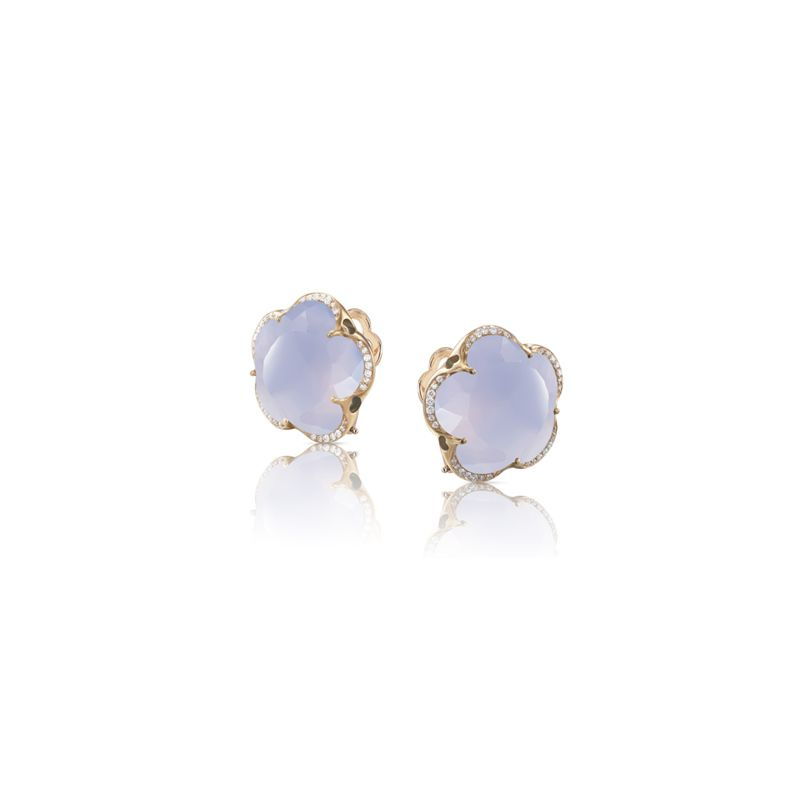 15627R | Pasquale Bruni Bon Ton earrings pink gold and light blue chalcedony and diamonds 14mm - Webshop