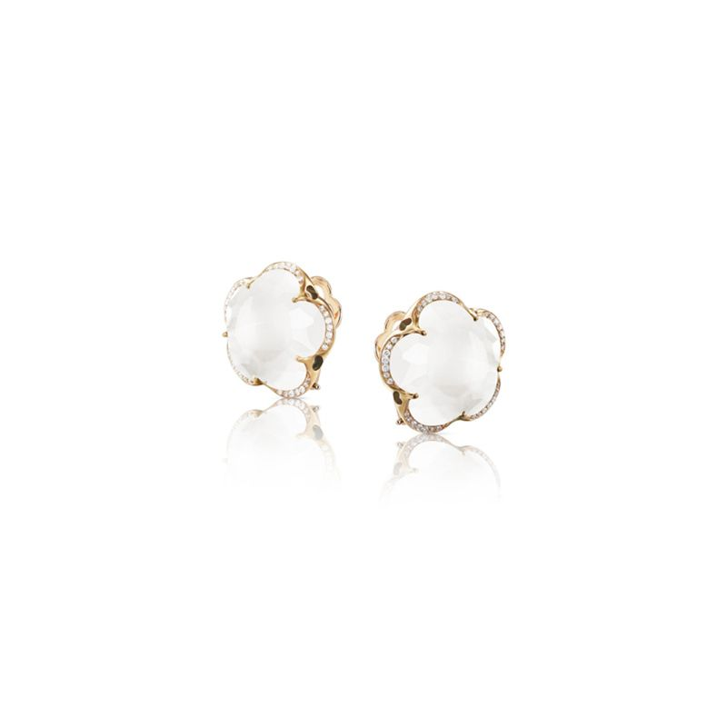 15637R | Pasquale Bruni Bon Ton earrings pink gold and milky quartz and diamonds 14mm - Webshop