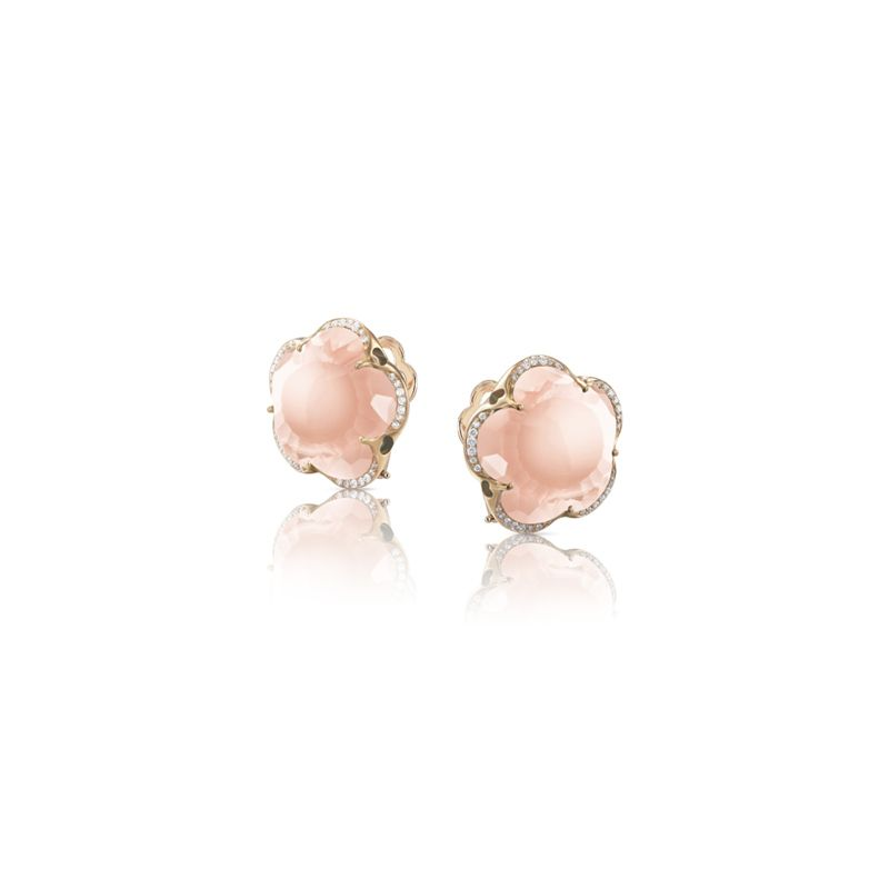 15638R | Pasquale Bruni Bon Ton earrings pink gold and rose quartz and diamonds 14mm - Webshop