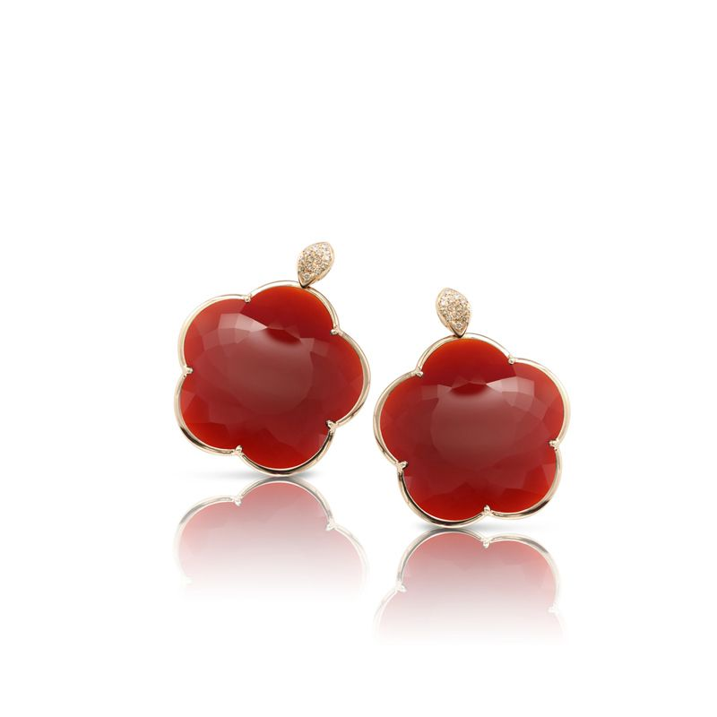 15665R | Pasquale Bruni Ton Joli earrings pink gold and red agate 40mm - Webshop