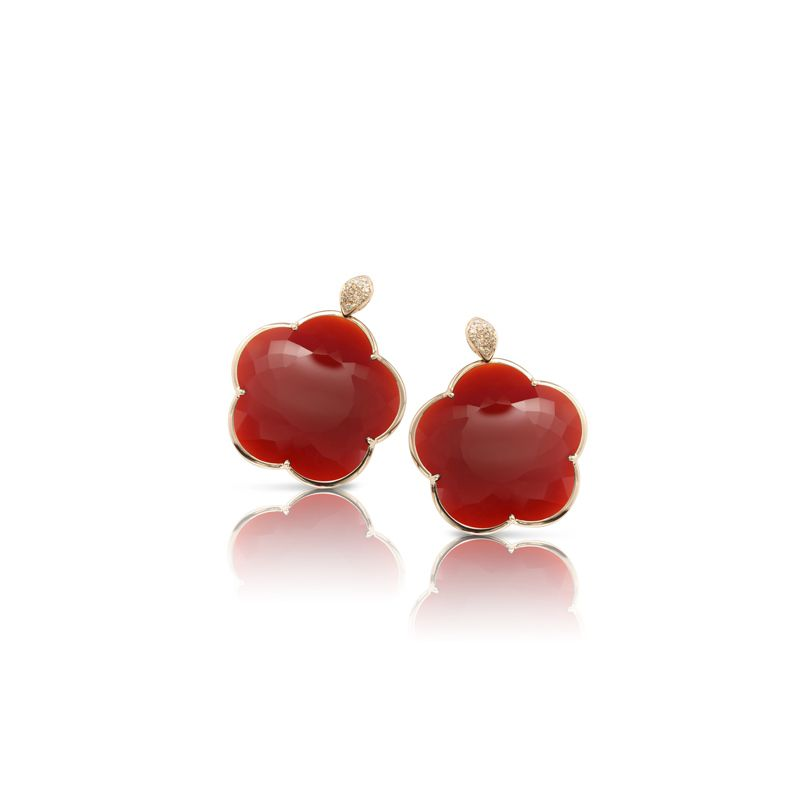 15670R | Pasquale Bruni Ton Joli earrings pink gold and red agate 24mm - Webshop