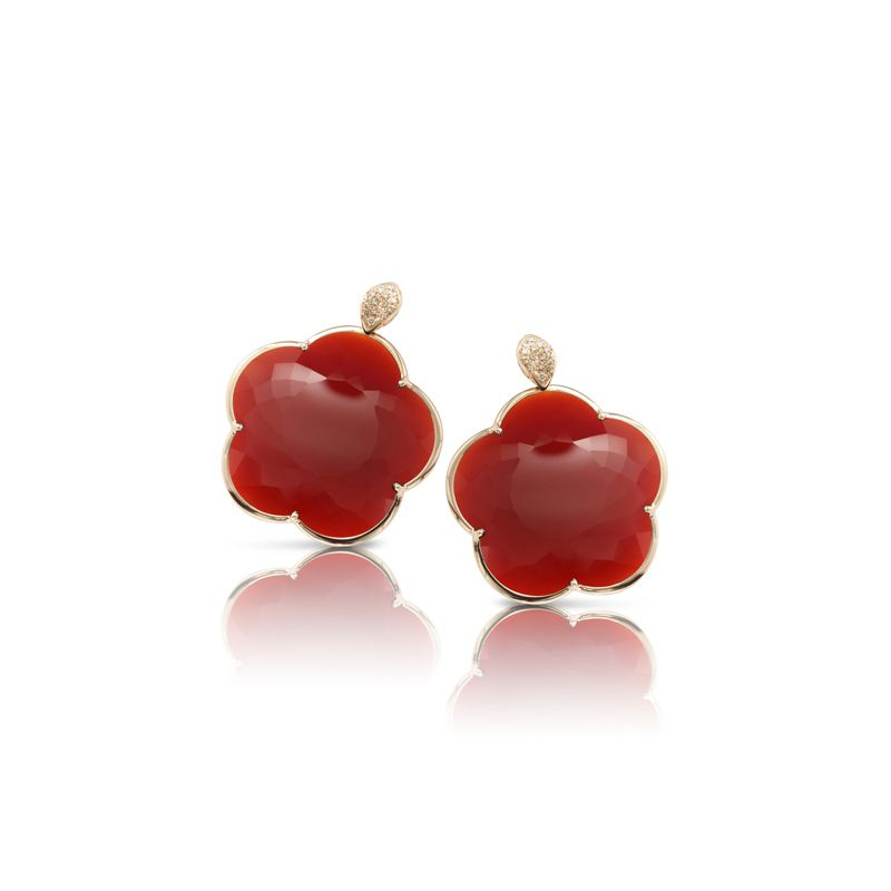 15671R | Pasquale Bruni Ton Joli earrings pink gold and red agate 30mm - Webshop