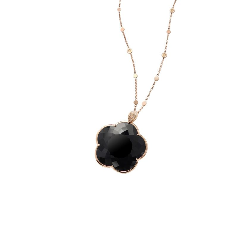 Pasquale Bruni Ton Joli necklace pink gold and onyx 24mm - Webshop
