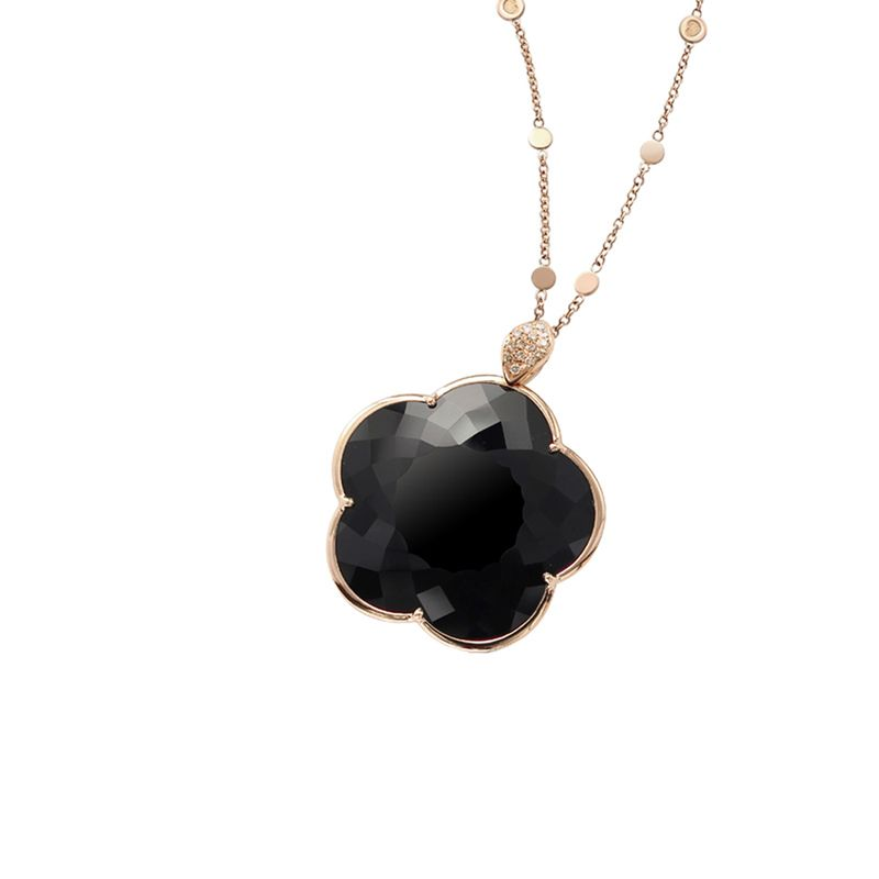 15584R | Pasquale Bruni Ton Joli necklace pink gold and onyx 40mm - Webshop
