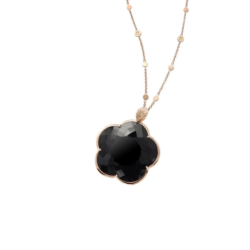 Pasquale Bruni Ton Joli necklace pink gold and onyx 30mm