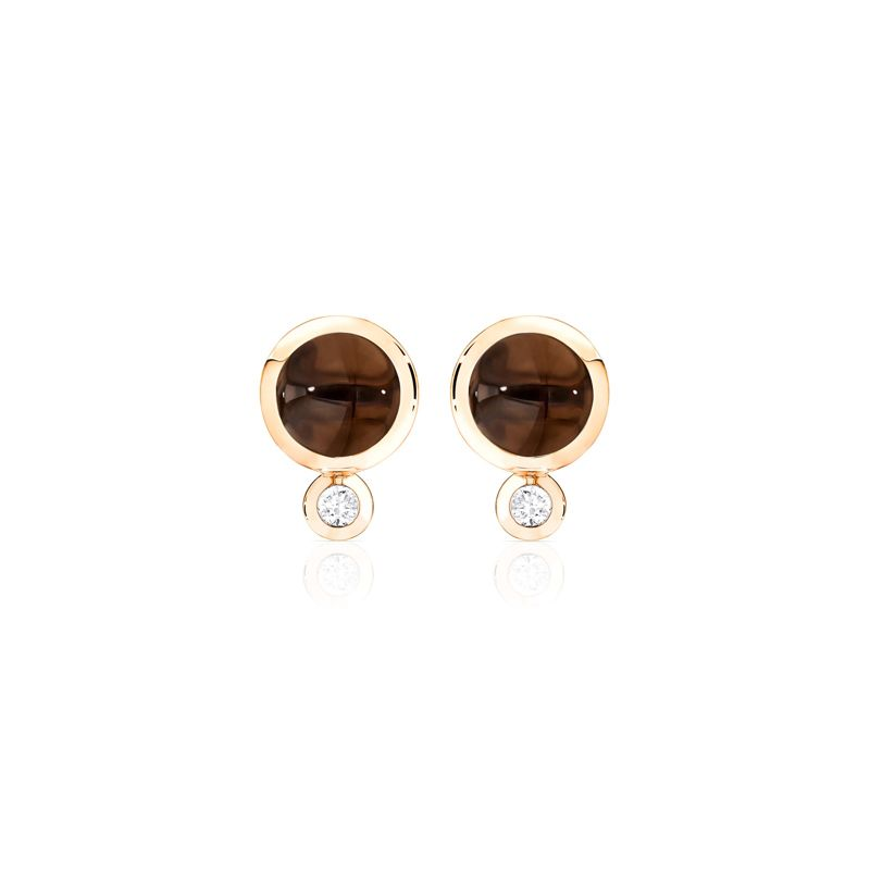E-Bou-SmQu-RG | Tamara Comolli Bouton earrings Smoky Quartz