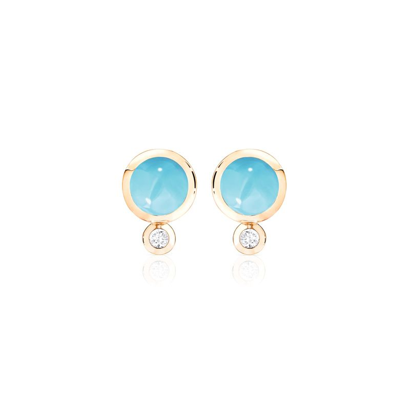 E-Bou-Tur-RG | Tamara Comolli Bouton earrings Turquoise