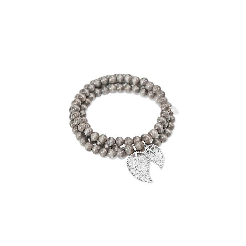 Tamara Comolli bracelet India Grey Wood Double Leaf WG